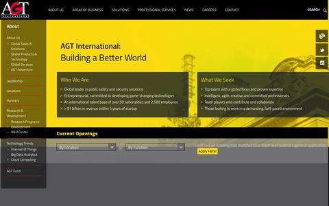 Screenshot of Jobs Page agtinternational.com - Careers : AGT - captured Sept. 23, 2014