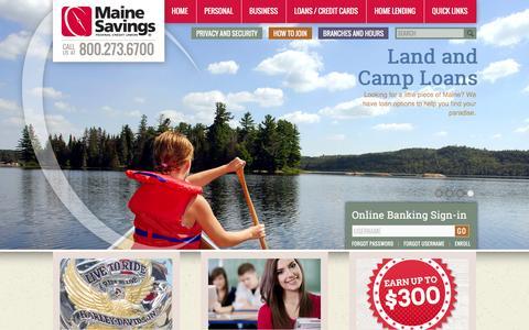 Screenshot of Home Page mainesavings.com - Maine Savings | Home - captured July 5, 2016