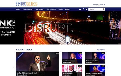 Screenshot of Home Page inktalks.com - Innovational Talks | Inspirational Talks & Videos | Motivational Speakers - The INK Conference - - captured Oct. 1, 2015