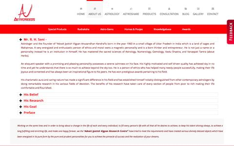 Screenshot of About Page astroneeds.com - Astroneeds  About Best Astrologer in Pune - captured Oct. 4, 2014