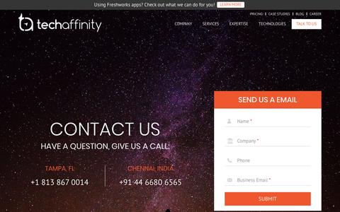 Screenshot of Contact Page techaffinity.com - Contact Us | TechAffinity - captured May 22, 2019