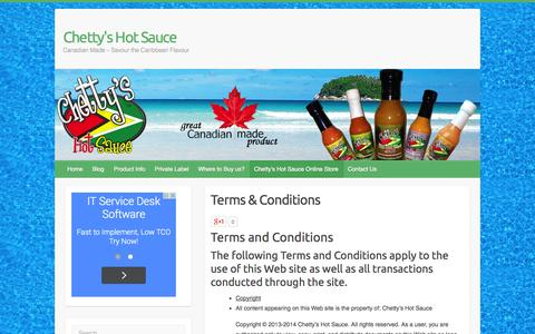 Screenshot of Terms Page chettys.com - Terms & Conditions | Chetty's Hot Sauce - captured Oct. 2, 2014