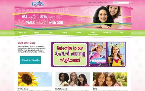 Screenshot of Home Page gemsgc.org - GEMS Girls' Clubs Home - captured Oct. 1, 2014