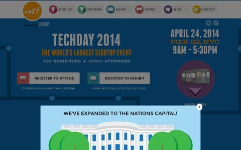 Screenshot of Home Page nytechday.com - NY TechDay 2014 - Welcome - captured Sept. 22, 2014