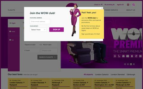 Screenshot of Home Page wowair.co.uk - WOW air | Cheap flights to Iceland, USA and Canada - captured Sept. 30, 2018