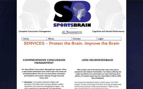Screenshot of Services Page sportsbrain.com - SportsBrain, Cognitive Ventures | Services - captured June 15, 2017