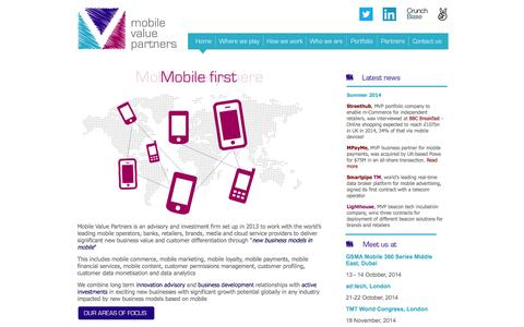 Screenshot of Home Page mvpglobal.com - Mobile Value Partners :: Home - captured Oct. 6, 2014