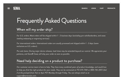 Screenshot of FAQ Page senacases.com - Frequently Asked Questions | Sena Cases - captured Oct. 26, 2014