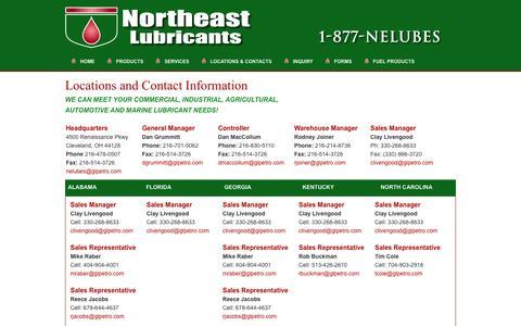 Screenshot of Locations Page northeastlubricants.com - Lubricants   Ohio   Carolinas   Pennsylvania   Alabama    Georgia   Florida   Northeast Lubricants - captured March 4, 2016