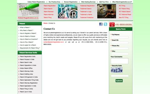 Screenshot of Contact Page patentregistration.co.in - Contact Us - captured Sept. 30, 2014