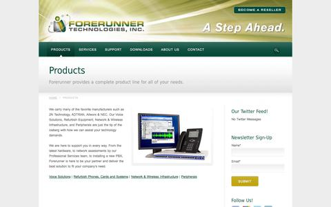 Screenshot of Products Page frtinc.com - Products | Forerunner Technologies, Inc. - captured Oct. 6, 2014