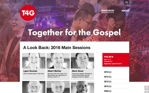 Screenshot of Home Page t4g.org - Together for the Gospel - captured Aug. 30, 2016