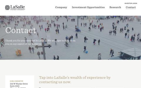 Screenshot of Contact Page lasalle.com - Contact | LaSalle Investment Management - captured June 15, 2018