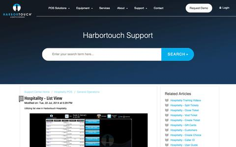 Screenshot of Support Page harbortouch.com - Hospitality - List View : Harbortouch Support Center - captured Oct. 9, 2018