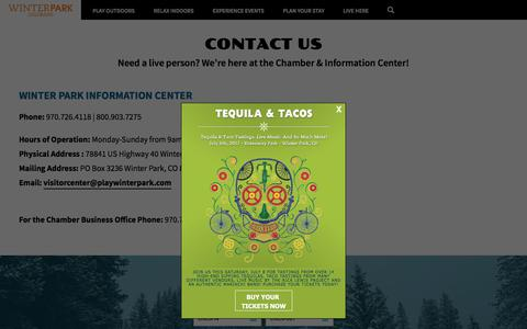 Screenshot of Contact Page playwinterpark.com - Contact the Winter Park & Fraser Chamber | Winter Park Colorado - captured July 7, 2017