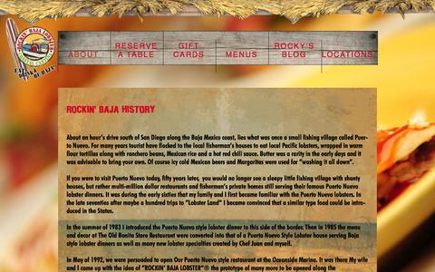 Screenshot of About Page rockinbaja.com - The Tale of the Lobster | Rockin' Baja Lobster -Coastal Cantina - captured Aug. 10, 2015