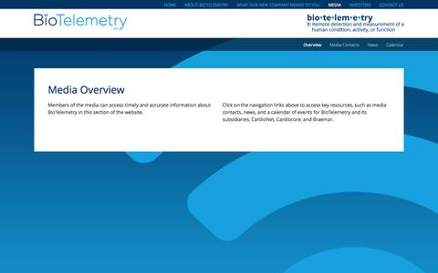 Screenshot of Press Page biotelinc.com - Media Overview   BioTelemtry, Inc. - captured Oct. 5, 2014