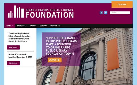 Screenshot of Home Page grplfoundation.org - Grand Rapids Public Library Foundation - captured Feb. 1, 2016