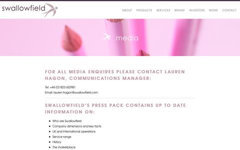 Screenshot of Press Page swallowfield.com - Media Enquiries & Press Pack | Swallowfield - captured Nov. 16, 2017