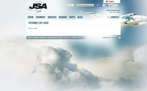 Screenshot of Terms Page jsamiami.com - Terms of Use « Jetset Airmotive, Inc. Jetset Airmotive, Inc. - captured Oct. 6, 2014