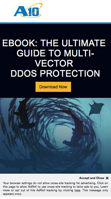 Screenshot of Landing Page  a10networks.com - eBook: The Ultimate Guide to Multi-vector DDoS Protection