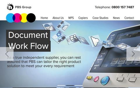 Screenshot of Home Page pbs-group.co.uk - Photocopier Leasing - Canon, Develop, Konica - PBS Group - captured June 18, 2015