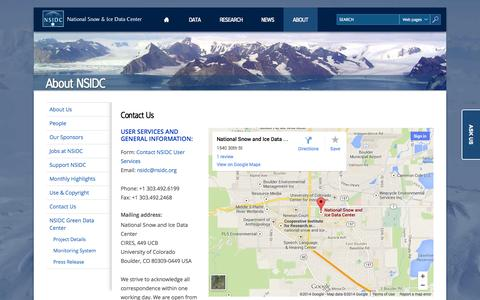 Screenshot of Contact Page nsidc.org - Contact Us | National Snow and Ice Data Center - captured Sept. 23, 2014