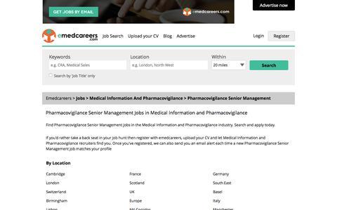 Screenshot of Team Page emedcareers.com - Pharmacovigilance Senior Management Jobs  - Medical Information and Pharmacovigilance Sector | emedcareers, UK - captured Nov. 3, 2015