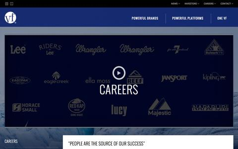 Screenshot of Jobs Page vfc.com - Careers :: VF Corporation (VFC) - captured Oct. 30, 2015