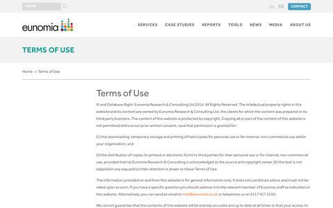 Screenshot of Terms Page eunomia.co.uk - Terms of Use - Eunomia - captured Nov. 11, 2018