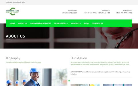 Screenshot of About Page kenindus.com - Kenya Industrial & Allied Safety Services - captured Oct. 17, 2017