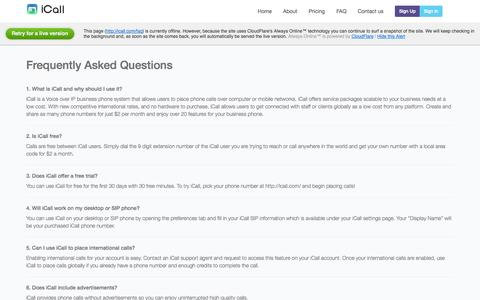 Screenshot of FAQ Page icall.com - Frequently Asked Questions - iCall - captured Oct. 31, 2014