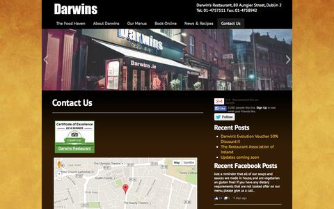 Screenshot of Contact Page darwins.ie - Contact Us | Darwins - captured Oct. 5, 2014