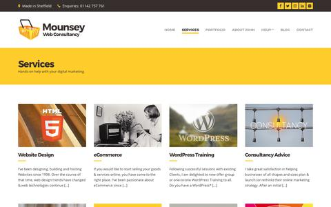 Screenshot of Services Page mounsey.co.uk - Digital Marketing Services in Sheffield - captured July 6, 2017