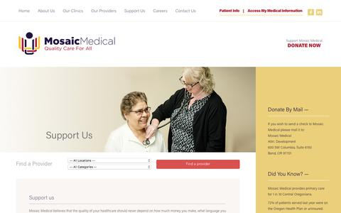 Screenshot of Support Page mosaicmedical.org - Mosaic Medical | Support Us - captured June 13, 2017