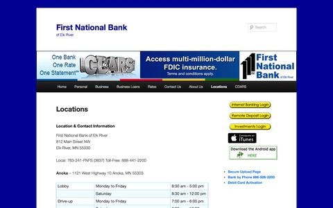 Screenshot of Locations Page fnber.com - Locations | First National Bank - captured Feb. 10, 2016