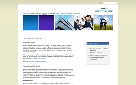 Screenshot of Services Page sansec.fi - :: SanSec Partners Oy - Services :: - captured Oct. 4, 2014