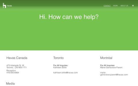 Screenshot of Contact Page havas.com - Contact Us | Havas Canada - captured July 23, 2017