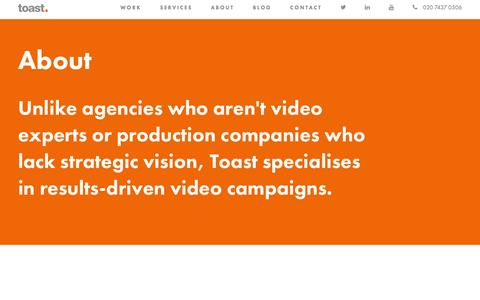 Screenshot of About Page toasttv.co.uk - Toast TV: Corporate Video and TV Ad Production Specialists - captured Jan. 12, 2016
