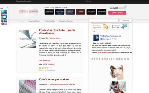 Screenshot of Home Page photoshop-tutorials.be - Photoshop-tutorials.be - Nederlandse Adobe Photoshop tutorials - captured Nov. 8, 2018