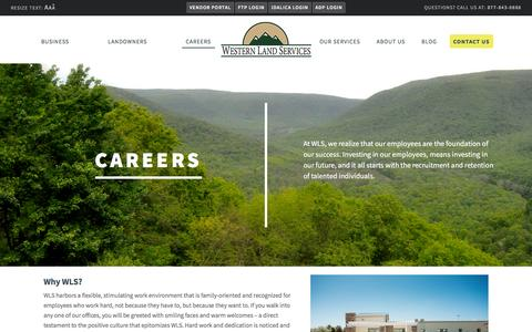 Screenshot of Jobs Page westernls.com - Oil & Gas Jobs: Careers at Western Land Services - captured Feb. 14, 2016