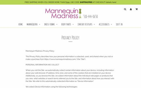 Screenshot of Privacy Page mannequinmadness.com - Privacy Policy – Mannequin Madness - captured July 27, 2018