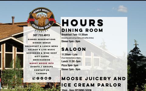 Screenshot of Hours Page mangymoose.com - Mangy Moose Restaurant & Saloon - Hours - captured Nov. 26, 2018