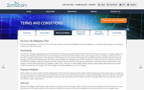 Screenshot of Terms Page 2sms.com - 2sms | Terms and Conditions | 2sms Global SMS Solutions - captured Jan. 18, 2016