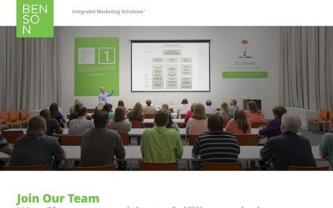 Screenshot of Jobs Page yourbenson.com - Careers |  Benson Integrated Marketing Solutions - captured Nov. 21, 2016