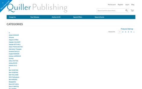 Screenshot of Site Map Page quillerpublishing.com - Site Map | Quiller Books - captured Sept. 30, 2018