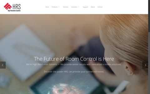 Screenshot of Home Page hrscontrol.com - High Resolution Systems – Pro AV Control and Automation - captured Aug. 10, 2017