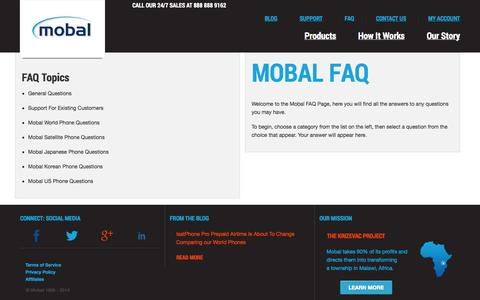 Screenshot of FAQ Page mobal.com - Frequently Asked Questions - captured Sept. 23, 2014