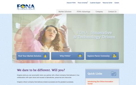Screenshot of Home Page fona.com - Home | FONA International - captured Sept. 19, 2014