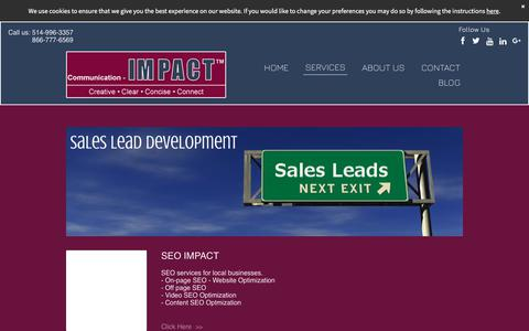 Screenshot of Services Page communication-impact.ca - Montreal SEO Online Marketing Services - Lead Development - SEM - captured Oct. 24, 2017